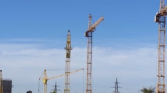 Tower crane on construction site Stock Footage