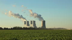 Coal fired power plant station air pollution - stock footage