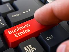 Stock Illustration of Press Button Business Ethics on Black Keyboard