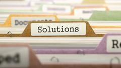 Folder in Catalog Marked as Solutions - stock illustration