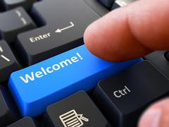 Welcome - Clicking Blue Keyboard Button - stock illustration