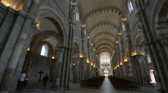 Interier of the famous Romanesque Basilica of St Magdalene. Vezelay is one of th Stock Footage