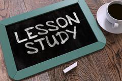 Lesson Study Handwritten on Chalkboard - stock illustration