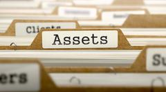 Assets Concept with Word on Folder Stock Illustration