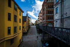 View of buildings along Bellmansgatan from an elevated walkway in Södermalm, - stock photo