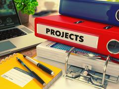 Stock Illustration of Red Office Folder with Inscription Projects