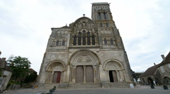 Stock Video Footage of Famous Romanesque Basilica of St Magdalene, Vezelay, France