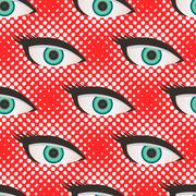 Pop art style halftone eyes pattern - stock illustration