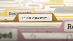 Stock Illustration of Project Management Concept on File Label