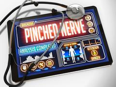 Pinched Nerve on the Display of Medical Tablet - stock illustration