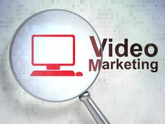 Finance concept: Computer Pc and Video Marketing with optical glass Stock Illustration