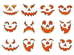 Halloween pumpkin smiles and grimaces - stock illustration