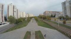 Aerial shot of street, Ukraine Dnepropetrovsk Stock Footage