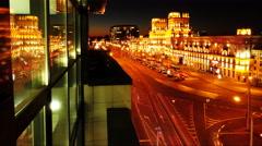 Traffic TimeLapse 4k footage. Late evening, after dusk. Minsk Stock Footage