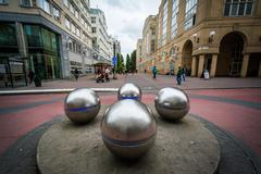 Metal spheres in front of the Stockholms södra station in Sodermalm, Stockho - stock photo