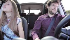 Angry father driving with his daughter Stock Footage