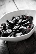 Traditional Finnish Salty liquorice candies - stock photo