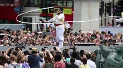 Stock Video Footage of 2015 London Korean Festival, Trafalgar Square..