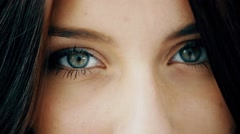 Close Up Of Green Beautiful 18-year-old Girl's Eyes and Lips Stock Footage