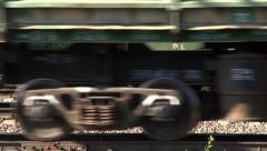 Cargo train. Train wheels going on railroad. Stock Footage