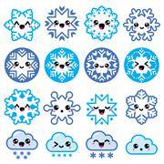 Kawaii snowflakes, clouds with snow - Christmas, winter icons set - stock illustration