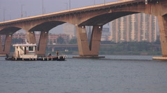 Small Boat Goes Under Bridge Han River In Seoul South Korea Stock Footage