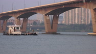 Stock Video Footage of Small Boat Goes Under Bridge Han River In Seoul South Korea