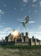 Dragon Attacking a Medieval Walled City Stock Illustration