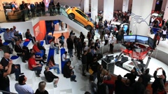 Driving simulator at the International Motor Show IAA - stock footage