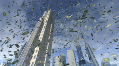 Dollar money fall from animated real buildings 4K Stock Footage
