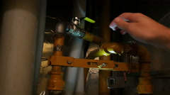 Opening and closing the gas valves in the flat Stock Footage