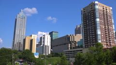 Nice establishing wide angle view across Atlanta, Georgia with offices and Stock Footage