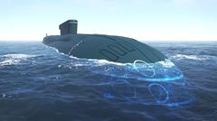 Floating russian submarine close up - stock photo
