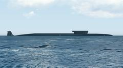 Stock Photo of Nuclear submarine Borei side view