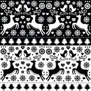 Christmas seamless monochrome pattern with reindeer - folk style Stock Illustration