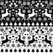 Christmas seamless monochrome pattern with reindeer - folk style - stock illustration