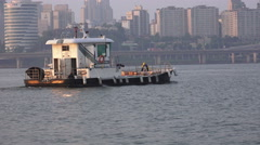 Small Boat On The  Han River In Seoul South Korea Stock Footage