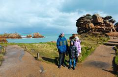 Stock Photo of Family on Ploumanach coast  (Brittany, France)