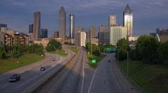 Beautiful dusk view of traffic heading into Atlanta, Georgia. Stock Footage