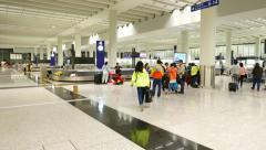 Luggage claim hall in HKG airport, modern interior large room Stock Footage