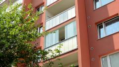 Camera focus one balcony on the prefab house - detail Stock Footage