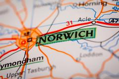 Norwich City on a Road Map - stock photo