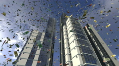 Euro money fall from animated real buildings 4K Stock Footage