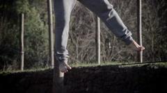 Tightrope walker, tightrope, walking on rope Stock Footage