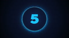 Countdown animation from 3 to 0. With awesome particles on graphical circle Stock Footage