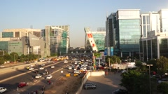 Cybercity Gurgaon buildings and traffic Stock Footage