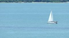 Phuket blue sky and Racing yacht Stock Footage