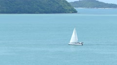 Racing yacht in the blue sky Stock Footage