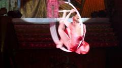 Aerial Hoop Performer In Circus Stock Footage