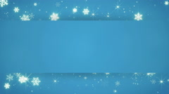 Blue banner and christmas snowfall seamless loop 4k (4096x2304) Stock Footage